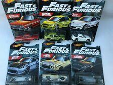 HOT Wheels Fast & Furious serie completa di 6 Auto su carta > Nuovo di Zecca MOC