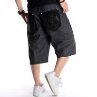 New Mens Hip-Hop Shorts Capri Jeans Denim Pants Baggy Embroidery Printed W30-W42