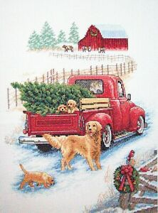 """Finished unframed Counted Cross Stitch Snowy Ride 10"""" x14"""""""