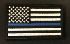 "Small  3 1/2"" X 2 1/4""  US Flag Patch (Police) Hook and Look Backing - Blue Line"