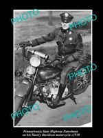 OLD LARGE HISTORIC PHOTO OF PENNSYLVANIA POLICE HARLEY DAVIDSON MOTORCYCLE c1930