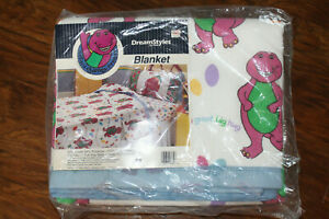 DreamStyles The Lyons Group Vintage 1992 Barney Dinosaur Blanket Comforter 72x90