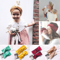Mom & Kids Turban Baby Girl Bow Matching Headband Elastic Knot Hairband Top !