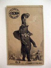 1880s Ad Trade Card For Clarks Spool Cotton w Jumbo The Elephant at a Bar