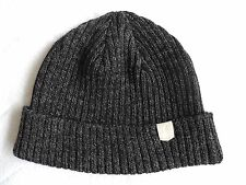 MAPLE of CANADA Dark Charcoal 100% Wool Fishermans Beanie Toque Rare OSFA