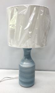NEW Pottery Barn Melrose Table Lamp w/White Linen Shade~Blue Swirl