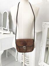 VINTAGE Brown Patchwork Leather Crossbody Hippy  Boho Bag Handbag