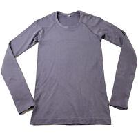 Lululemon Womens Purple Metallic Shimmer Long Sleeve Swiftly Tech Top Size 6