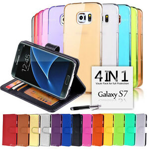 VALUE PACK Wallet & Gel 4in1 Accessory Bundle Kit Cover For  Samsung Galaxy S7