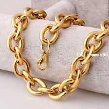 Steel Cool O Link Chain Necklace Mens Jewelry Heavy 15mm Gold Tone Stainless