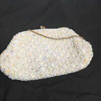 Small Vintage White Beaded Purse Made In Hong Kong Gold Tone Handle Handbag