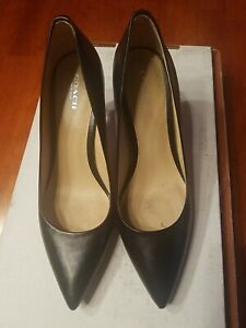 COACH Women's Classic Leather Pointed Black Shoes, Size 10