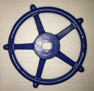 "LARGE Vintage Gate Valve Handle 8"" Iron, Nautical Maritime Ship Wheel Folk Art"