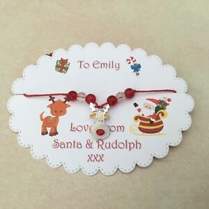 Santa And Rudolph Wish Bracelet, Father Christmas Stocking Filler, Christmas Eve