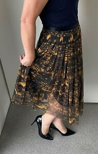 VERONIKA MAINE Size 12 Midi Skirt/Black/Gold/Business | Workwear | Party