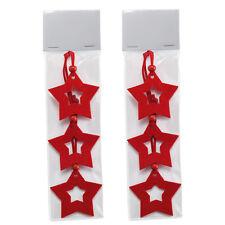 2 Paquet de 3 Noël Étoile Arbre Cintre en 3mm Rouge Feutre avec Bois Perle