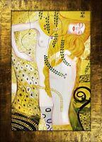 Gustav Klimt - Wasserschlagen-107x77 Ölgemälde Handgemalt Leinwand Rahmen G00332
