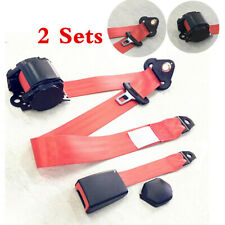 2Pcs Red 3 Point Retractable Car Seat Belt Bolt Automatic Safety Strap Buckle