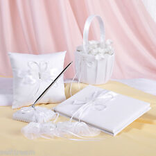 GB05 White butterfly Set Guest Book Ring Pillow Basket