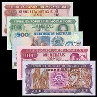 Mozambique set 5 PCS, 50 100 500 1000 5000 Meticais, UNC