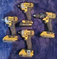 "Lot 4 Dewalt Tools DCD780 Drill DCF883 3/8"" Impact Wrench 2- DCF885 1/4"" Driver"