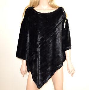 PONCHO NEGRO mujer cabo capote chal suave piel sintética  invierno capa cape G53