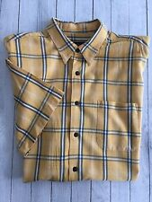 Men's Ocean Pacific OP SS Camp Shirt Yellow Navy White Check Large