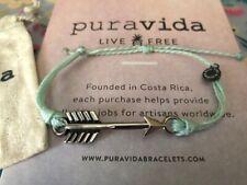 Pura Vida Silver Arrow on Seafoam Light Green Bracelet HTF! Rare!