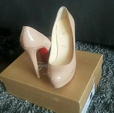 Christian Louboutin 'Bianca' Platform Pump Nude Leather Size 36 EU 6 US
