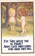 POSTCARD  COMIC  CHILDREN  Bare  Bottom  Related  Adam  and  Eve