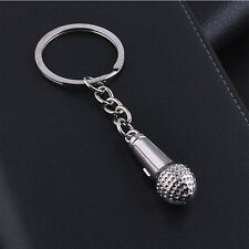Creative Music Microphone Pendent Keychain Keyring Key Chains Ring