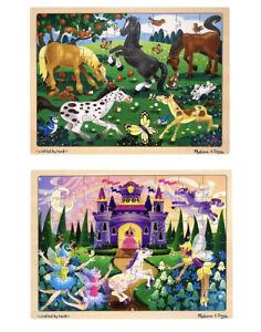 Melissa and & Doug ~ Frolicking Horses & Fairy Fantasy Tray Puzzles ~2 x 48pc BN