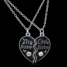 "2PCS ""Best Sister""&""Little Sister"" Crystal Heart Necklace Pendant Friend Jewelry"