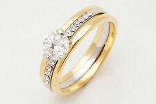 Chic 10K Yellow Gold Filled White Sapphire Women's Jewelry Ring Da64 SZ10