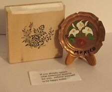 Tiny Miniature Copper Plate Painted Lilies in Box w Inspirational Stanza Mexico