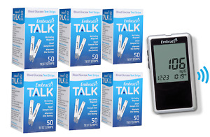Embrace Blood Glucose Test Strips 300 With Voice Glucose Meter