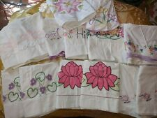 Vintage Lot (14) Pillowcases Crochet Embroidered pink Flowers Singles
