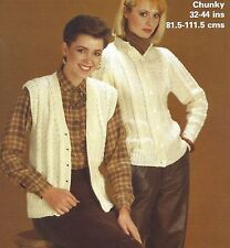 LADIES CHUNKY WAISTCOAT & CARDIGAN KNITTING PATTERN 32/44 INCH BY EMAIL (1215)
