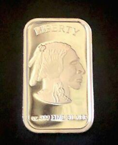 Buffalo Indian Head 1 Oz Silver Bar .999 Liberty USA in god we trust