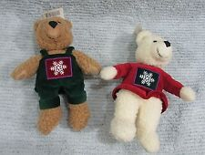 Two Hallmark Kiss Kiss Mistletoe Bears 1990's Christmas Magnetic Noses Free S/H
