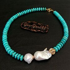Freshwater Cultured White Keshi Pearl Blue Disc Turquoise Necklace 20""