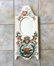 "Vintage 11""x26"" Hand Painted Floral Mirror Folk Art Boho Shabby Chic White Cream"