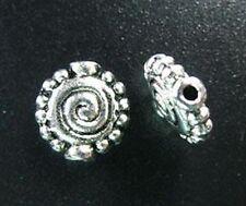 30 PCS Tibetan Silver Dotted Rim Spiral Spacer Beads T897