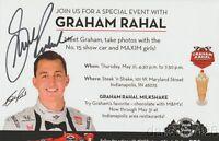 "2015 Graham Rahal signed Steak 'N Shake ""Meet Graham"" Indy 500 Indy Car postcard"