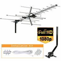 200 Miles Outdoor Amplified HDTV TV Antenna HD VHF/UHF Mounting Pole 40ft Cable