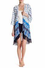 NWT PJ Salvage Ivory/Blue Floral/Paisley Coastal BOHO FRINGE Kimono Robe XS/S