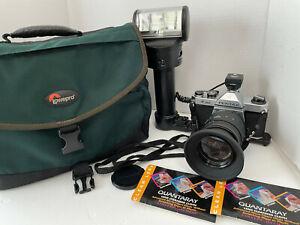 Pentax K1000 35mm Camera W/ Strap Quntaray 55mm Zoom Lens Osram bcs44 Studio Bag