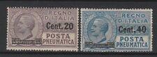 FRANCOBOLLI - 1925 REGNO POSTA PNEUMATICA C.20 SU 15+C.40 SU 30 MNH Z/8446