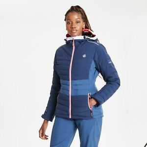 Dare 2B Women's Succeed Waterproof Insulated Quilted Hooded Ski Jacket - Blue