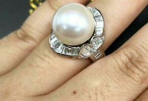 Women's Engagement Ring Over 2 Ct Round Pearl & Baguette Simulated Diamond